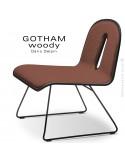 Chaise GOTHAM WOODY lounge, piétement noir, assise et dossier noir, tissu 302rouge.