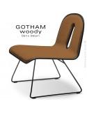 Chaise GOTHAM WOODY lounge, piétement noir, assise et dossier noir, tissu 308orange.