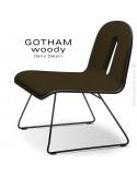 Chaise GOTHAM WOODY lounge, piétement noir, assise et dossier noir, tissu 404marron.