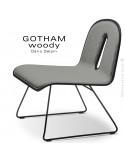 Chaise GOTHAM WOODY lounge, piétement noir, assise et dossier noir, tissu 600gris.