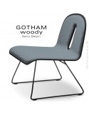 Chaise GOTHAM WOODY lounge, piétement noir, assise et dossier noir, tissu 7001bleu.