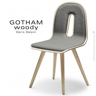 Chaise GOTHAM WOODY-SI, structure et assise frêne, tissu 600gris.