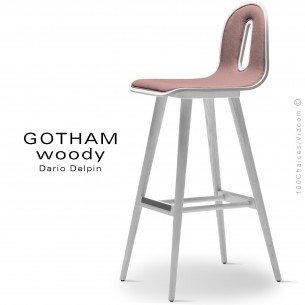 Tabouret de bar GOTHAM WOODY-SG-80-I, Structure blanc, tissu 301rose.