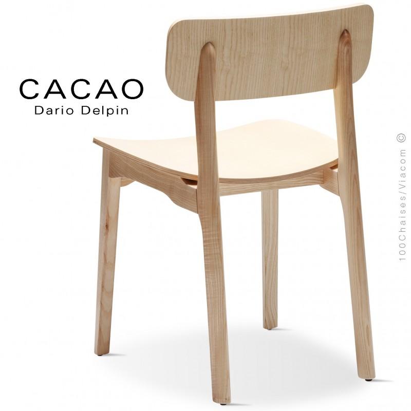 Chaise design CACAO-L, piétement et assise bois frêne.