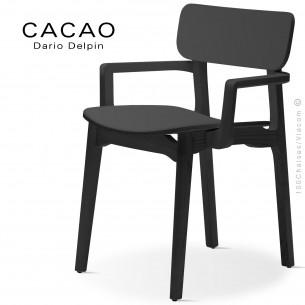 Fauteuil design CACAO-LP, structure et assise bois noir.