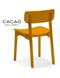 Chaise design CACAO-L, piétement et assise bois jaune.