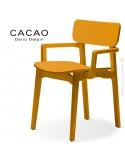 Fauteuil design CACAO-LP, structure et assise bois jaune.