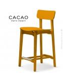 Tabouret de cuisine design CACAO-LSG65, structure et assise bois jaune.