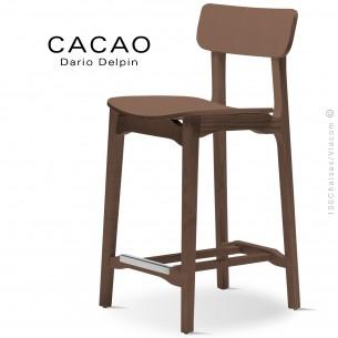 Tabouret de cuisine design CACAO-LSG65, structure et assise bois noyer.