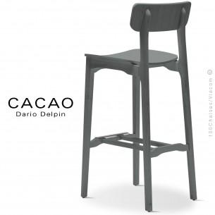 Tabouret de bar design CACAO-LSG80, structure et assise bois gris.