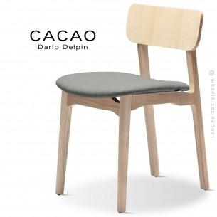 Chaise CACAO-S, piétement bois frêne et assise habillage tissu 600gris.