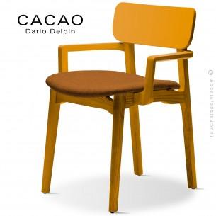 Fauteuil design CACAO-SP, piétement bois jaune et assise habillage tissu 308orange.