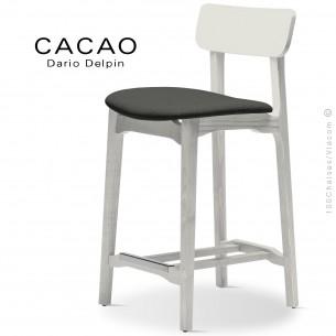 Tabouret de cuisine CACAO-SG-65, piétement bois blanc, assise habillage tissu 203anthracite.