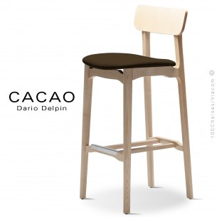 Tabouret de bar design CACAO-SG-80, piétement bois, assise habillage tissu.