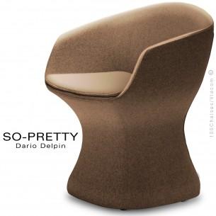 Fauteuil design SO-PRETTY, habillage tissu OPERA 402marron.