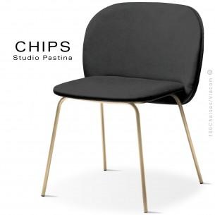 Chaise design CHIPS-M, piétement acier laiton satiné, assise et dossier habillage cuir 1017noir.