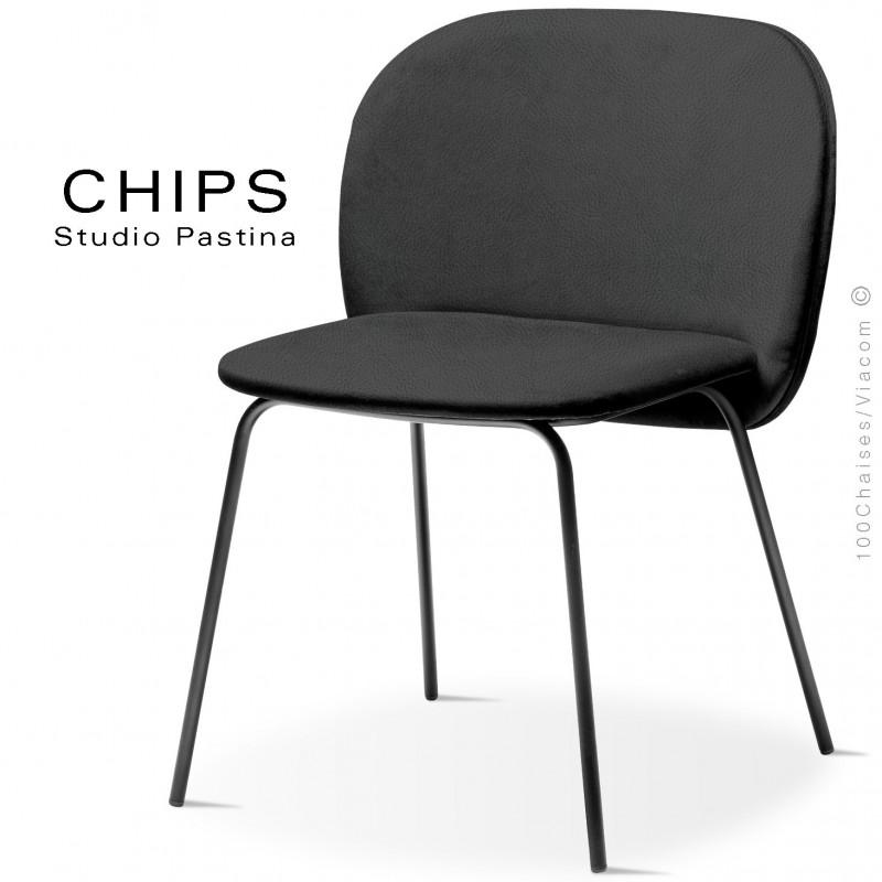 Chaise design CHIPS-M, piétement acier noir, assise et dossier habillage cuir 1017noir.