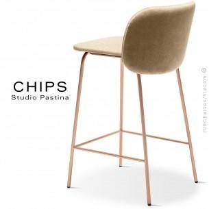 Tabouret de cuisine design CHIPS-M-SG-65, piétement acier cuivre, assise et dossier habillage cuir 1003crème.