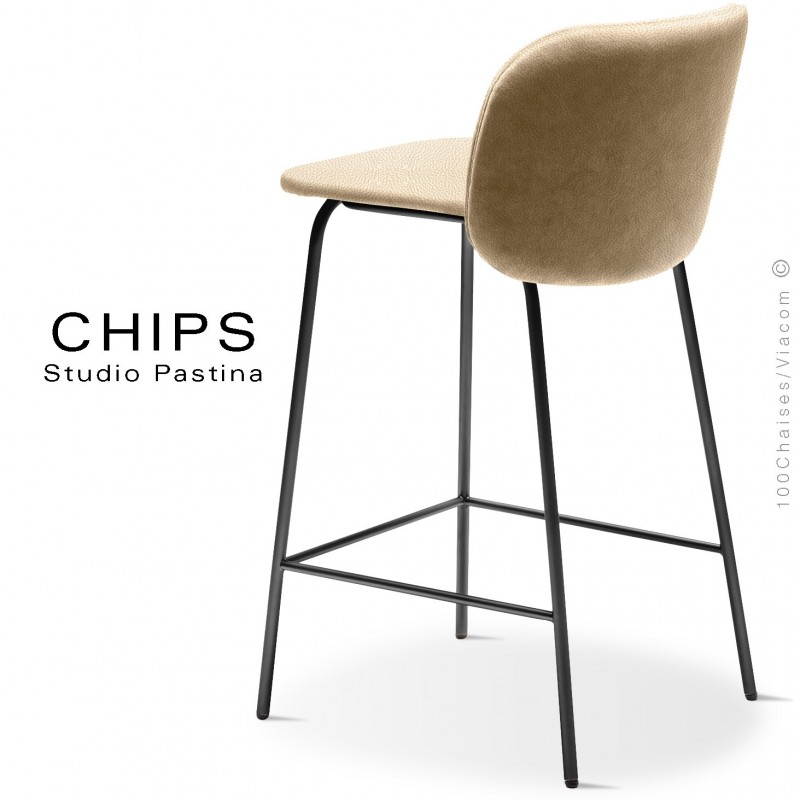 Tabouret de cuisine design CHIPS-M-SG-65, piétement acier noir, assise et dossier habillage cuir 1003crème.