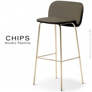 Tabouret de bar design CHIPS-M-SG-80, piétement acier cuivre, assise et dossier habillage cuir 1027marron.