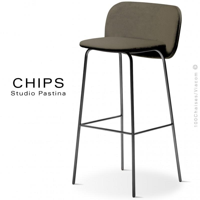 Tabouret de bar design CHIPS-M-SG-80, piétement acier noir, assise et dossier habillage cuir 1027marron.