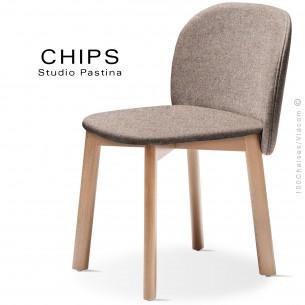 Chaise design CHIPS-S, piétement bois hêtre, assise et dossier habillage tissu 402marron.