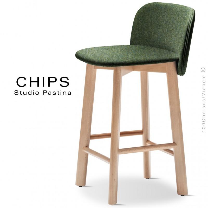 Tabouret de cuisine design CHIPS-SG-65, piétement bois hêtre, assise et dossier habillage tissu 800vert.