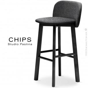 Tabouret de bar design CHIPS-SG-80, piétement bois noir, assise et dossier habillage tissu 201noirclair.
