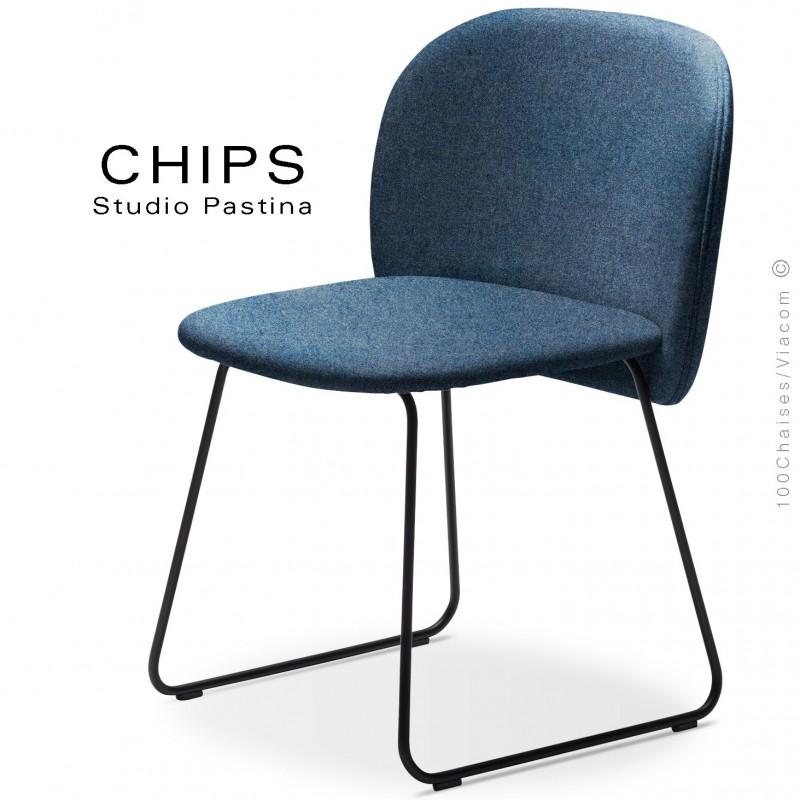 Chaise design CHIPS-SL, piétement luge acier peint noir, assise et dossier habillage tissu 700ble.
