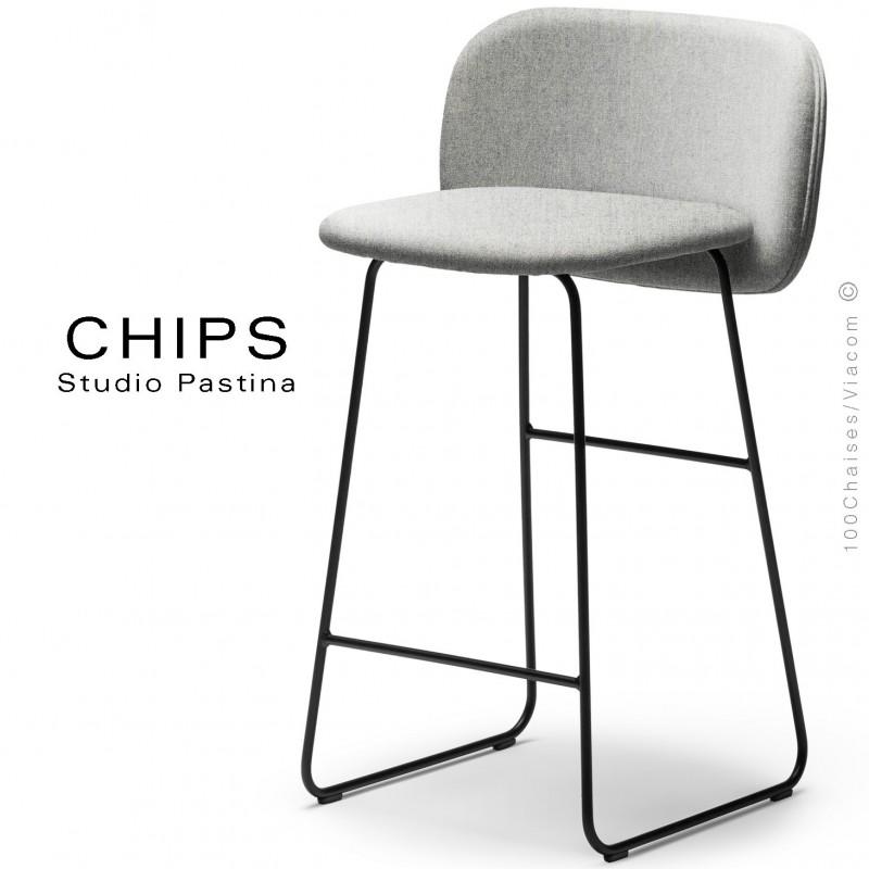 Tabouret de cuisine CHIPS-SL-SG-65, piétement luge acier peint noir, assise et dossier habillage tissu 101crème.