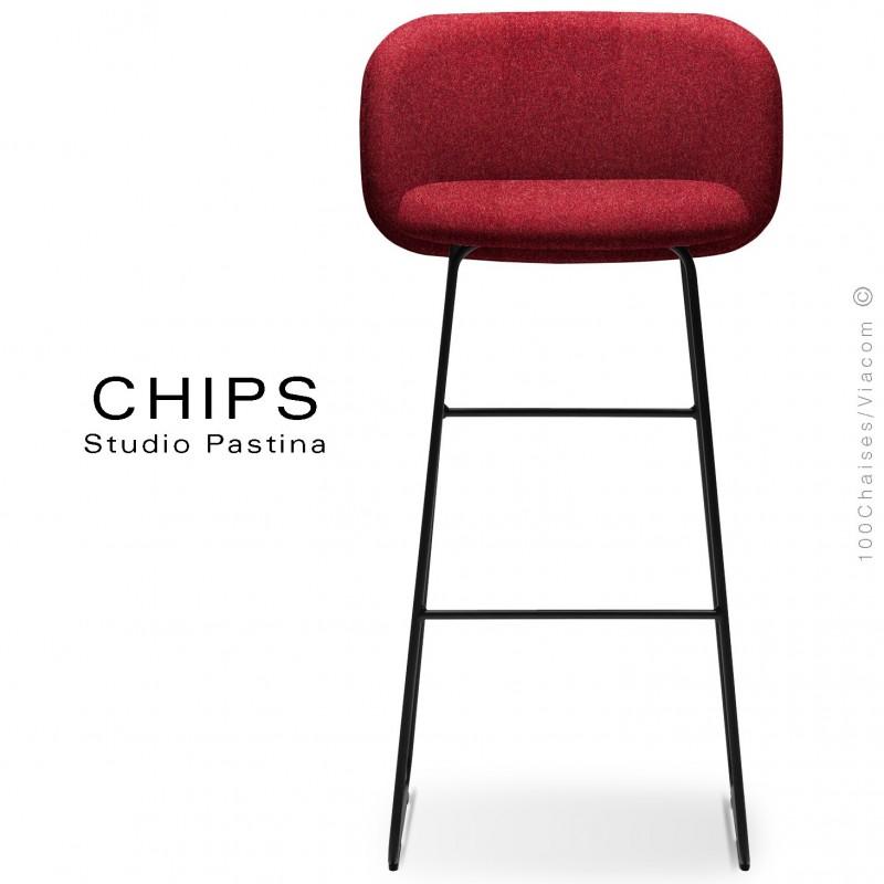 Tabouret de bar design CHIPS-SL-SG-80, piétement luge acier peint noir, assise et dossier habillage tissu 305rouge.