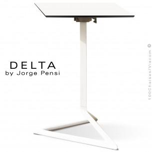 Table design DELTA, piétement fantaisie aluminum peint blanc, plateau 50x50 type Compact HPL blanc.