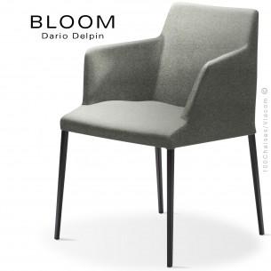 Fauteuil design BLOOM-MP, piétement acier noir, assise et dossier habillage tissu 600gris.