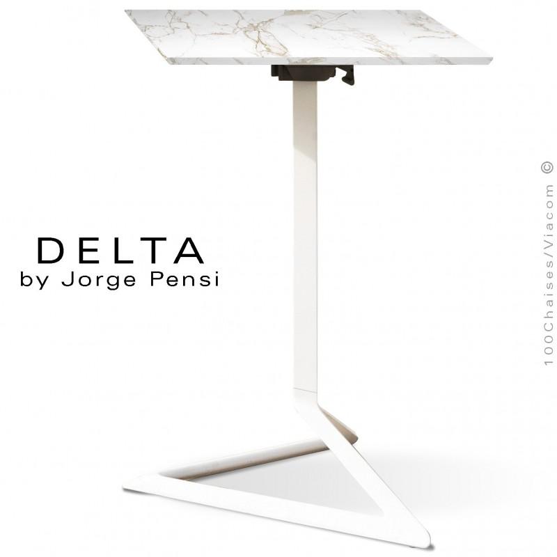 Table design DELTA, plateau pierre DEKTON, 50x50 cm., couleur Entzo piétement aluminium peint blanc.