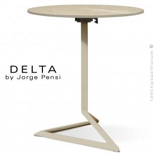 Table design DELTA, plateau pierre DEKTON, Ø70 cm., couleur Danae, piétement aluminium peint écru.