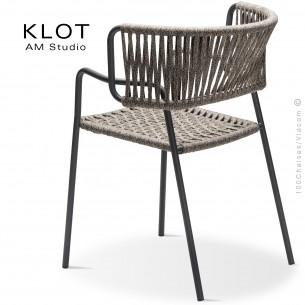Fauteuil design KLOT-SP, piétement acier peint anthracite, assise et dossier tressé en sangle giotto3.