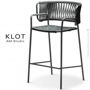 Tabouret design KLOT-SG, piétement acier peint anthracite, assise et dossier tressé en sangle giotto6