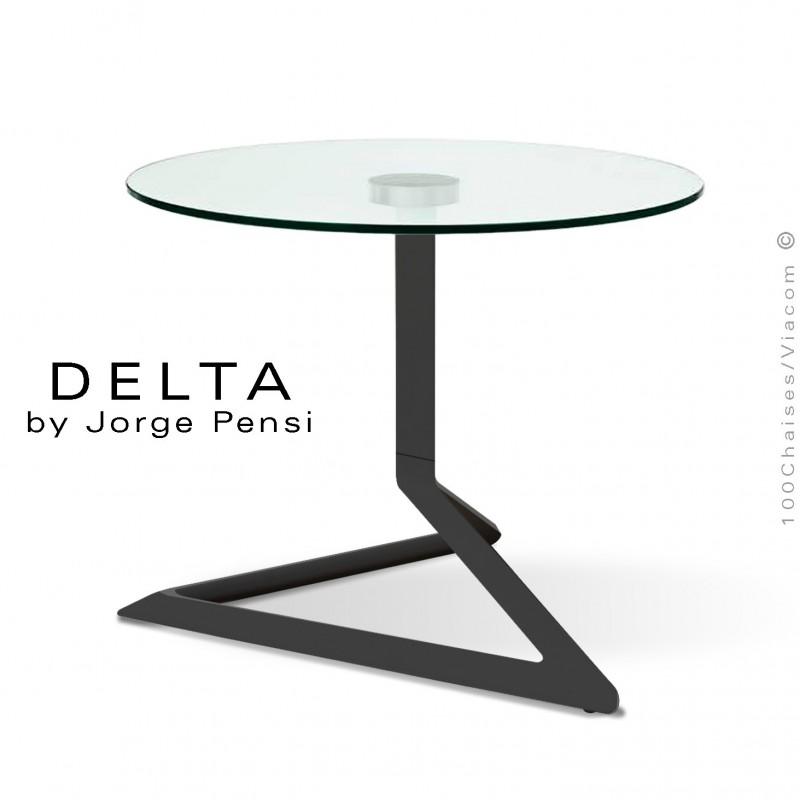 Table basse design DELTA, piétement fantaisie aluminium peint noir, plateau Ø50 cm., verre transparent securit.