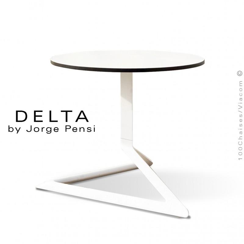 Table basse design DELTA, piétement fantaisie aluminum peint blanc, plateau Ø50 type Compact HPL blanc.