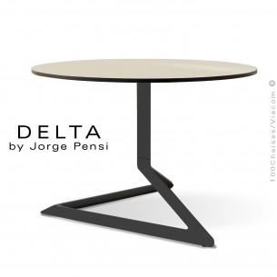 Table basse design DELTA, piétement fantaisie aluminum peint noir, plateau Ø70 type Compact HPL écru.
