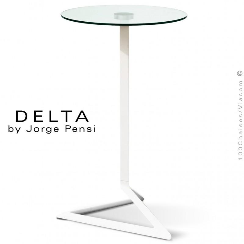 Table mange-debout design DELTA, piétement fantaisie aluminium peint blanc, plateau rond Ø50 cm. verre transparent securit.