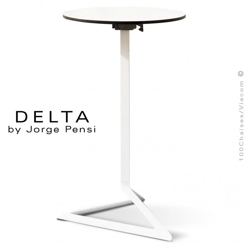 Table mange debout DELTA, piétement fantaisie aluminium blanc, plateau rond Ø50 cm., compact blanc.