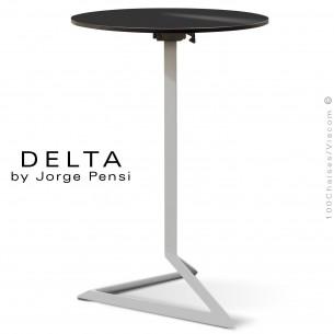 Table mange debout DELTA, piétement fantaisie aluminium gris, plateau rond Ø60 cm., compact noir.