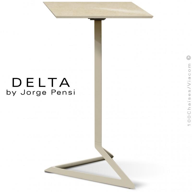 Table mange debout design DELTA, plateau pierre DEKTON, 50x50 cm., couleur Danae, piétement aluminium peint écru.