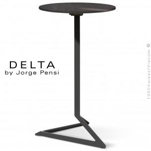 Table mange debout design DELTA, plateau pierre DEKTON, Ø50 cm., couleur Kelya, piétement aluminium peint noir.