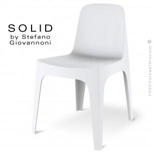Chaise design SOLID, pour l'extérieur et terrasse, structure et assise coque plastique couleur blanche.