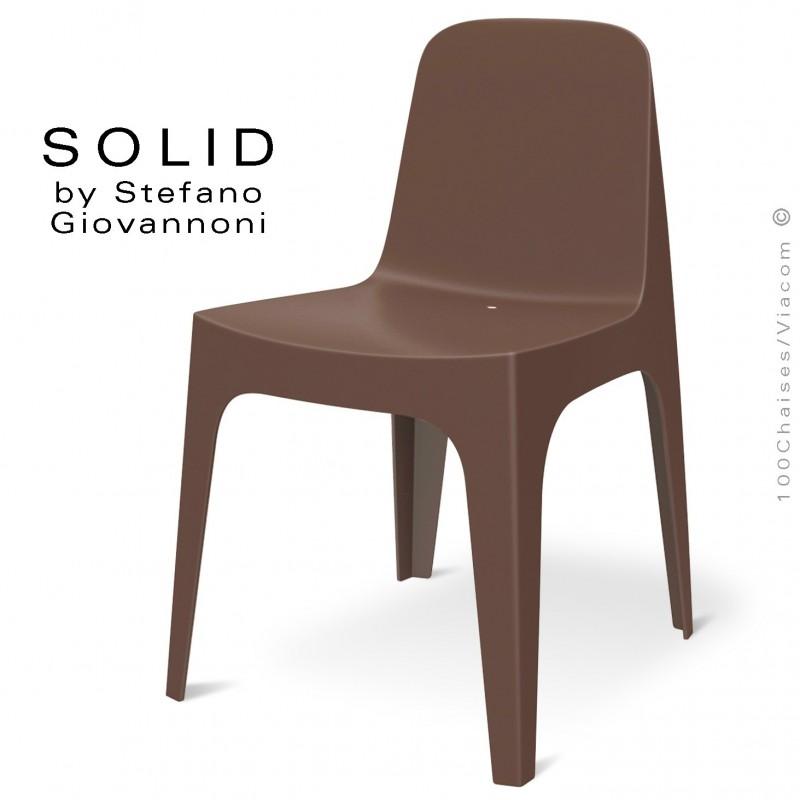 Chaise design SOLID, pour l'extérieur et terrasse, structure et assise coque plastique couleur bronze.