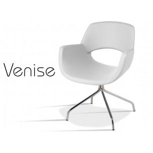 VENISE fauteuil design assise capitonnée aspect cuir, finition perle.
