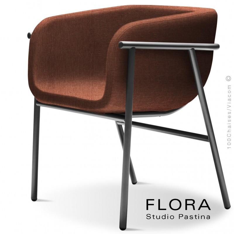 Fauteuil design FLORA, piétement acier peint anthracite, assise et dossier habillage tissu 302rouge.