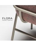 Fauteuil design FLORA, piétement acier peint, assise et dossier habillage tissu.